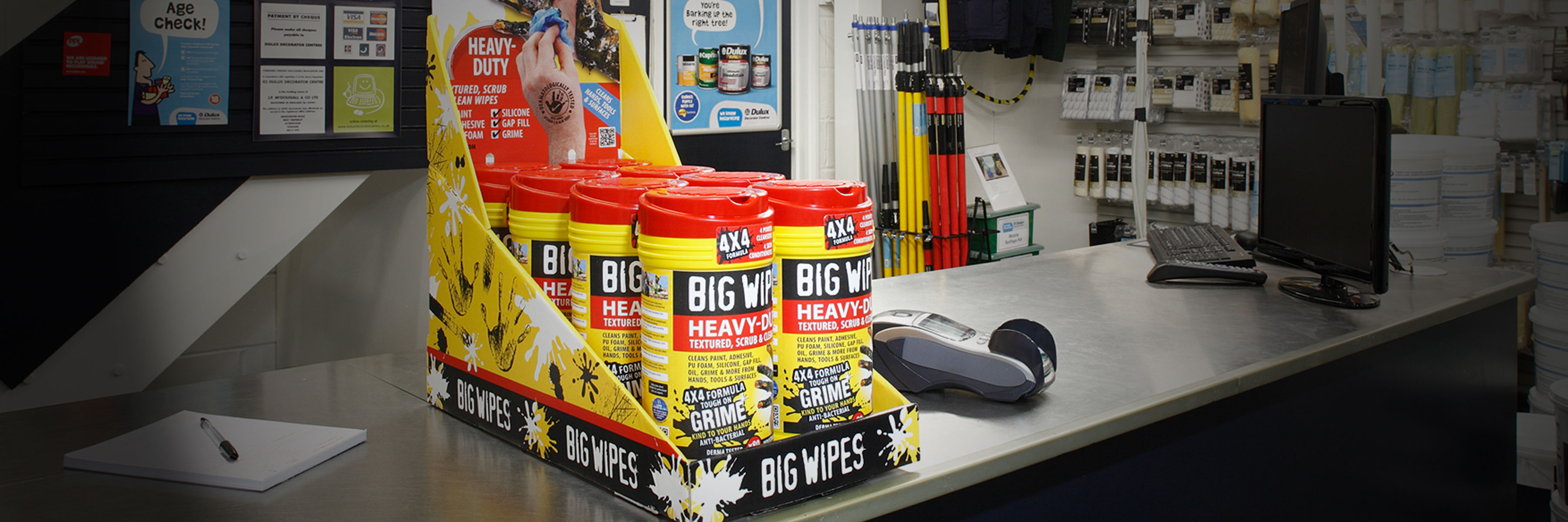 BIG WIPES · DISPLAYS · Salgs- og demodisplay løsninger